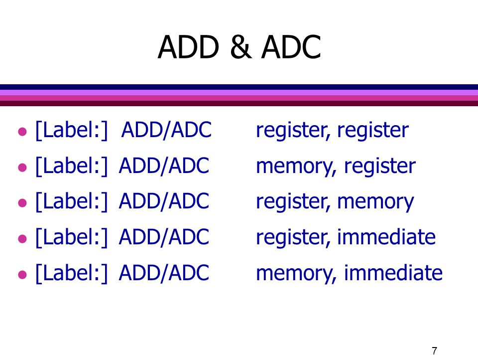 ADD & ADC [Label:] ADD/ADC register, register